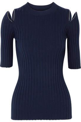 Joseph Zip-detailed Ribbed Merino Wool-blend Sweater - Navy