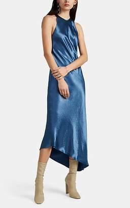 Nomia Women's Washed Satin Bias-Cut Dress - Md. Blue