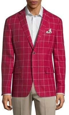 Tallia Orange Windowpane Linen Sportscoat