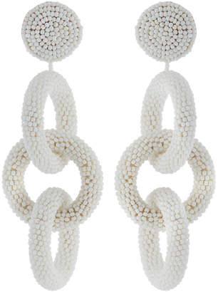 Kenneth Jay Lane Seed Bead 3-Ring Drop Earrings, White