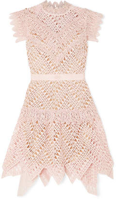 Self-Portrait Guipure Lace Mini Dress - Baby pink