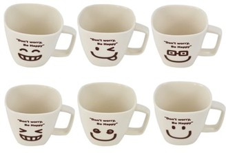 Southern Homewares Don't Worry, Be Happy Man Ceramic Tea Cup Face, Set of 6