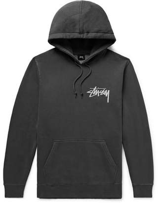 Stussy Logo-Print Fleece-Back Cotton-Blend Jersey Hoodie