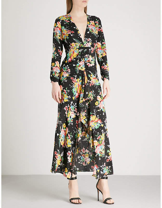 RIXO Rose V-neck silk-crepe midi dress