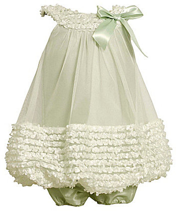 Bonnie Baby Infant Ruched Mesh Bubble Dress & Panty Set