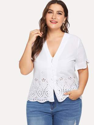 Shein Plus Ruffle Cuff Button Up Cut Out Blouse
