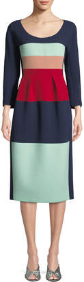 DELPOZO Scoop-Neck Long-Sleeve Striped Wool Midi Cocktail Dress