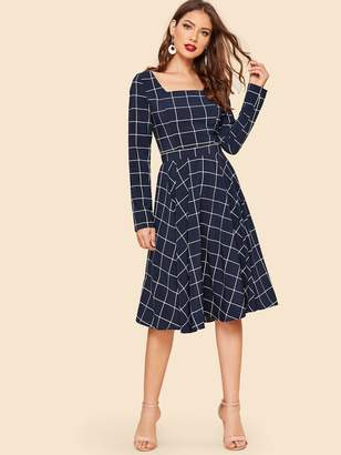 Shein 50s Square Neck Princess Seam Grid Fit & Flare Dress
