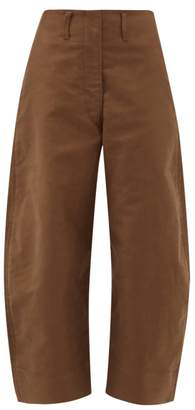 Lemaire Cropped Cotton Chino Trousers - Womens - Khaki