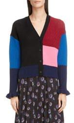 Kenzo Colorblock Wool & Cashmere Crop Cardigan