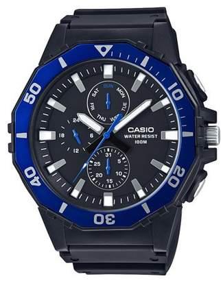 Casio Men's Large Face Diver Style Watch, Black/Blue