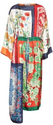 Gucci Patchwork Print Asymmetrical Silk Dress