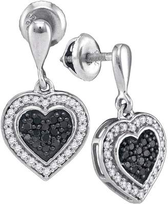 Saris and Things 10kt White Gold Womens Round Color Enhanced Diamond Heart Frame Dangle Earrings 1/2 Cttw