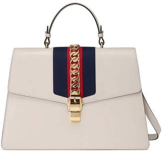 Gucci White Sylvie large leather tote bag