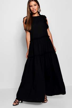 boohoo Petite Tiered Ruffle Shoulder Maxi Dress