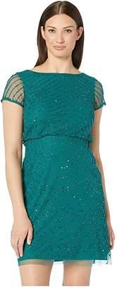 Adrianna Papell Short Sleeve Beaded Mesh Blouson Cocktail Dress