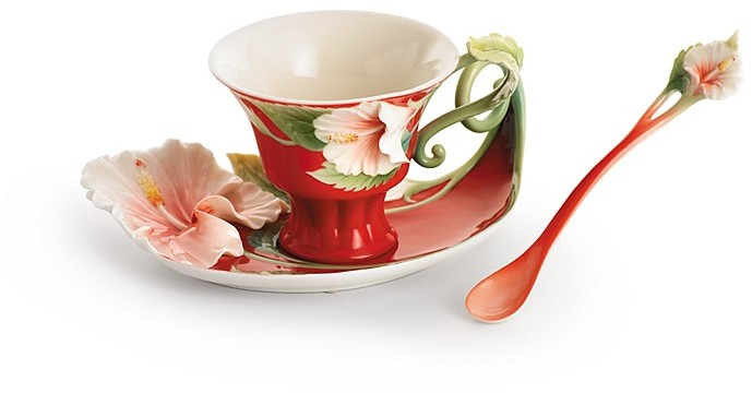 Franz Collection Island Beauty Hibiscus Flower Cup & Saucer with Spoon