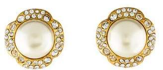 Chanel Faux Pearl & Crystal Clip-On Earrings