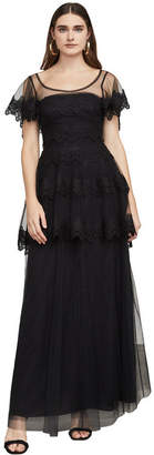 BCBGMAXAZRIA Olivia Lace-Trimmed Tulle Gown