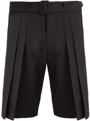 Saint Laurent Belted wide-pleated wool shorts