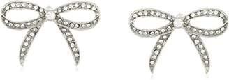 Betsey Johnson Women's Blue La La Pave Bow Button Stud Earrings