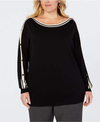 Charter Club Plus Size Button-Trimmed Sleeve Top