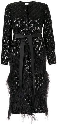 Huishan Zhang Evie sequin embroidery feather coat