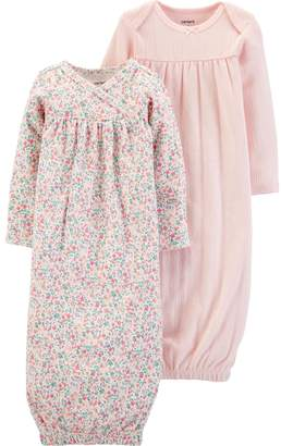Carter's Baby Girl 2 Pack Floral Pleated Sleep Gowns
