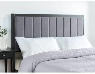Zinus Banded Grey Upholstered Metal Headboard, Multiple Sizes