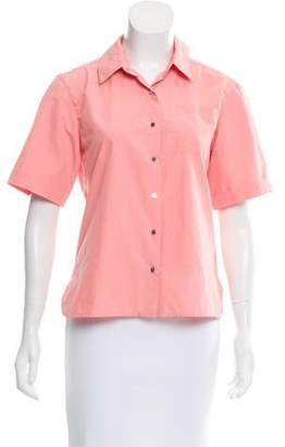Diane von Furstenberg Short Sleeve Snap-Up Top