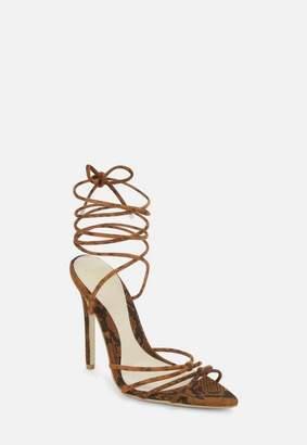 Missguided Brown Snake Print Faux Suede Minimal Strap Pointed Toe Heels, Brown