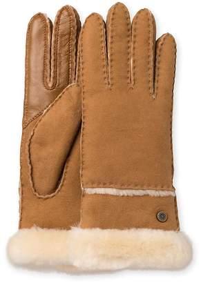 UGG Women's Exposed Slim Sheepskin-Trimmed Leather Gloves