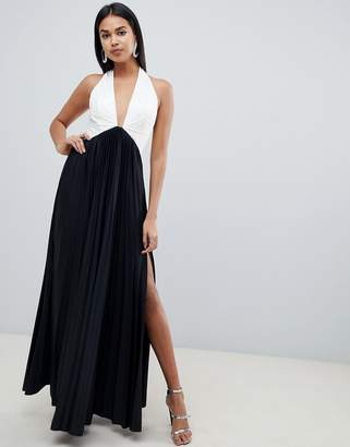 Asos DESIGN color block pleated halter maxi dress