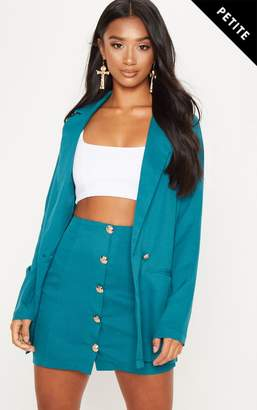 PrettyLittleThing Petite Emerald Green Button Detail Mini Skirt
