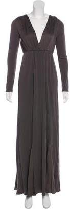 Alice + Olivia Silk-Blend Long Sleeve Maxi Dress