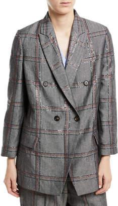 Brunello Cucinelli Cotton/Linen Check Paillette Blazer Jacket