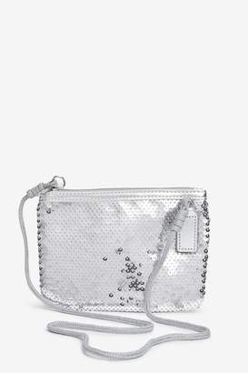 Next Girls Silver Sequin Cross-Body Bag - Silver
