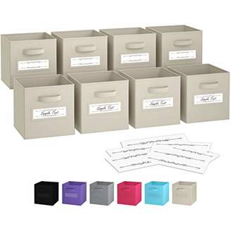 BEIGE Royexe - Storage Cubes - (Set Of 8) Storage Baskets | Features Dual Handles & 10 Label Window Cards | Cube Storage Bins | Foldable Fabric Closet Shelf Organizer | Drawer Organizers And Storage