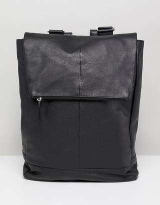 Asos DESIGN square backpack in black leather with internal laptop pouch