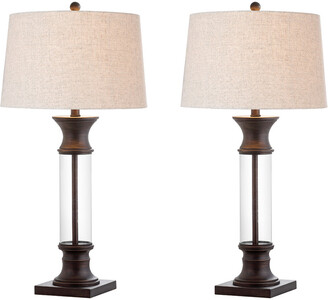 Hunter Jonathan Y Designs Set Of 2 32In Metal & Glass Led Table Lamps