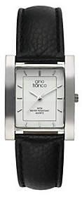 Gino Franco Men's Square Strap Watch - Black Li zard Strap