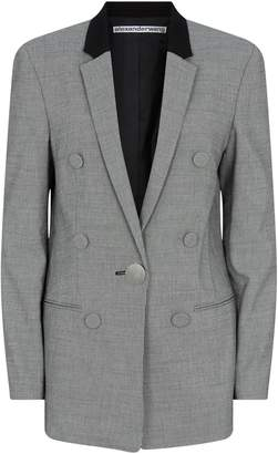 Alexander Wang Micro-Houndstooth Leather Sleeve Blazer
