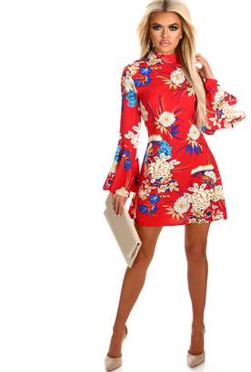 48689c6b64d2 Pink Boutique Fancy You In Floral Red Floral Flare Sleeve Mini Dress