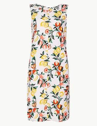 M&S Collection Linen Rich Printed Shift Mini Dress
