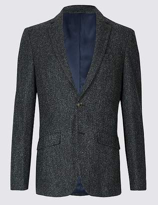Marks and Spencer Pure Wool Charcoal Textured Slim Fit Jacket