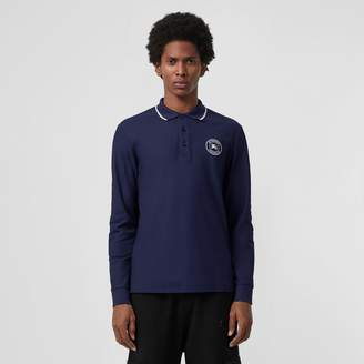 Burberry Long-sleeve Embroidered Logo Cotton Polo Shirt