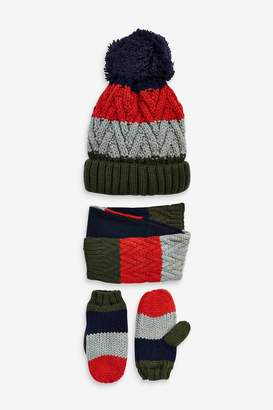Next Boys Multi Colourblock Hat, Scarf And Gloves Three Piece Set (Younger) - Blue