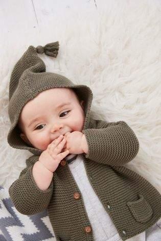 Boys Khaki Hooded Cardigan (0mths-2yrs) - Green