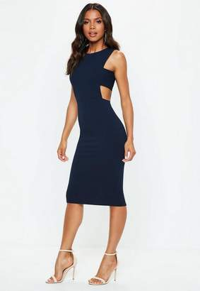 Missguided Navy Sleeveless Cut Out Side Midi Dress