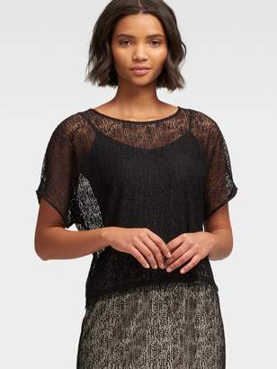 DKNY Short-Sleeve Lace Top